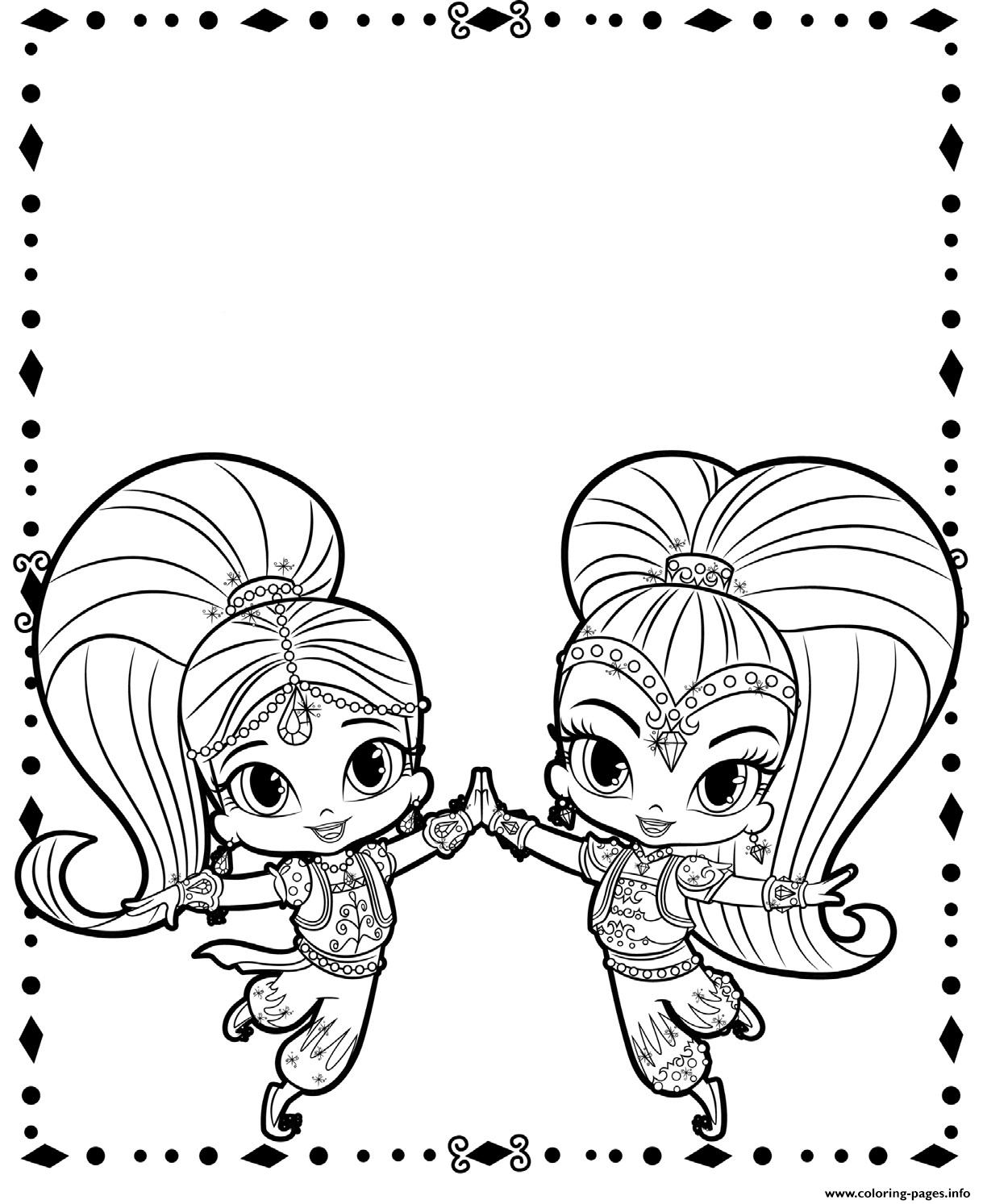 Shimmer And Shine Cute Genies Coloring Pages Printable