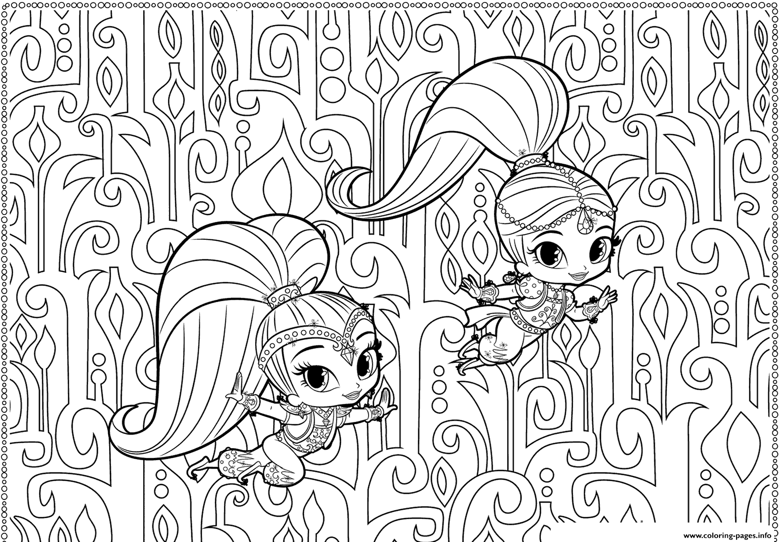 shimmer and shine printables coloring pages printable