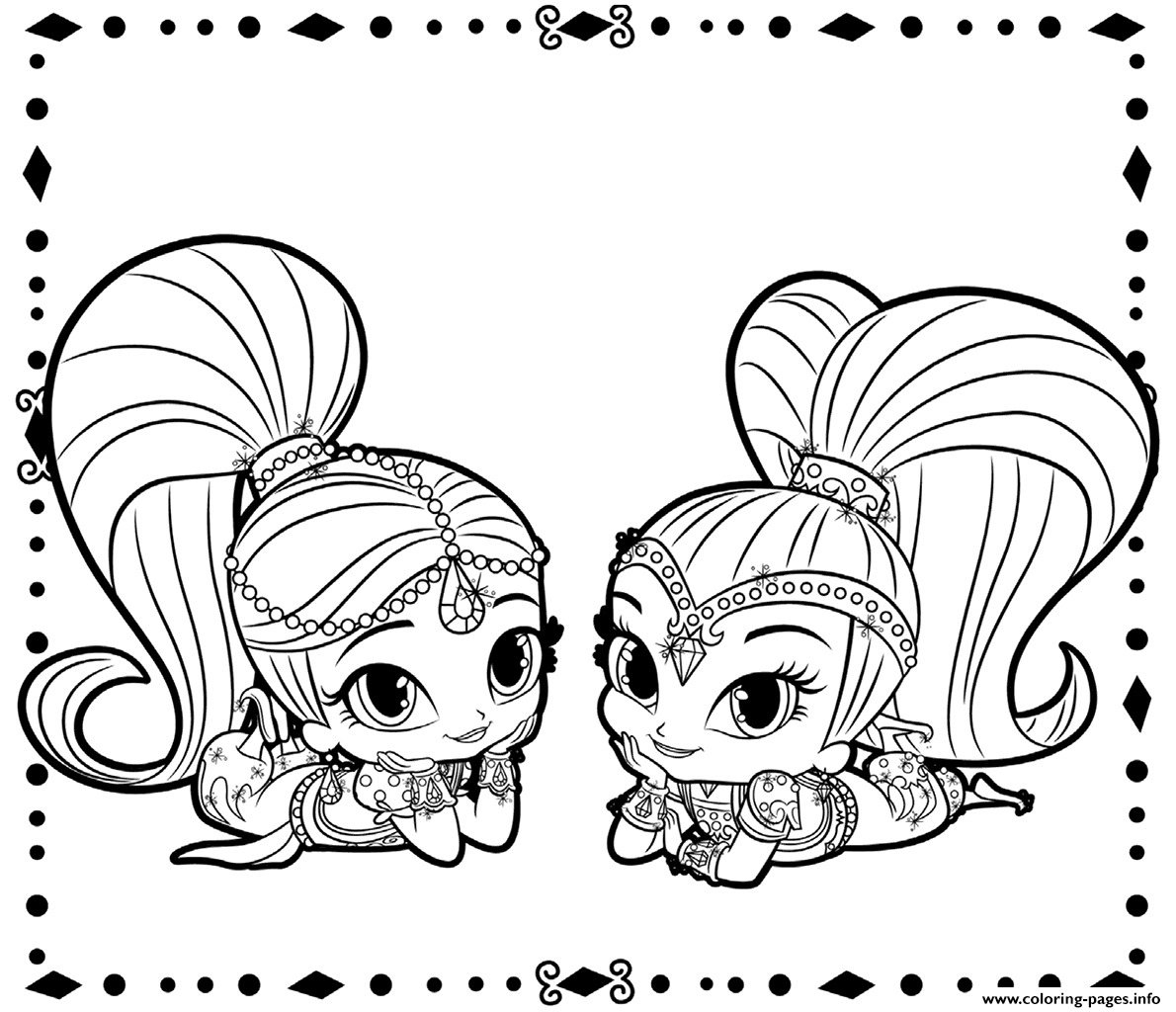 picture regarding Shimmer and Shine Coloring Pages Printable named Shimmer And Glow Coloring Web pages Printable