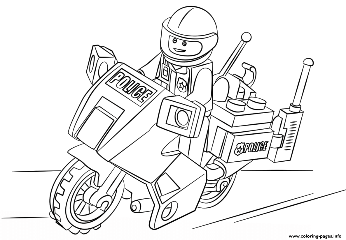 Lego moto police car coloring pages printable for Police car coloring pages to print