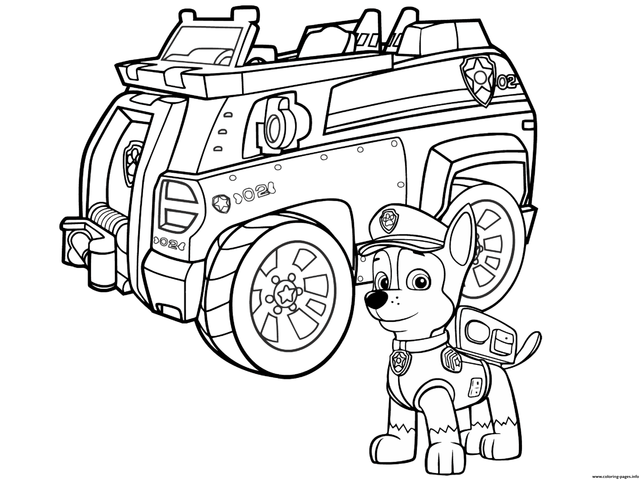 Paw Patrol Chase Police Car coloring pages