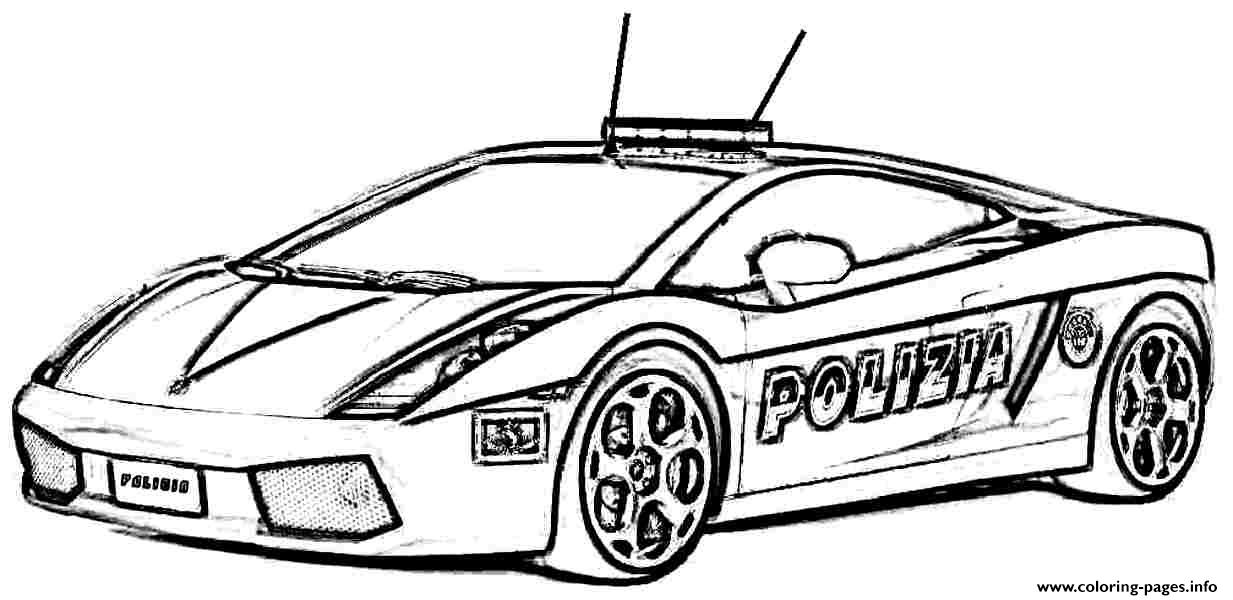 Police car lambourguini sport coloring pages printable for Police car coloring pages to print