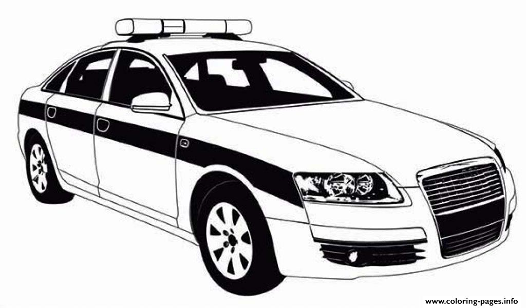 Police car patrol on the road coloring pages printable for Police car coloring pages to print