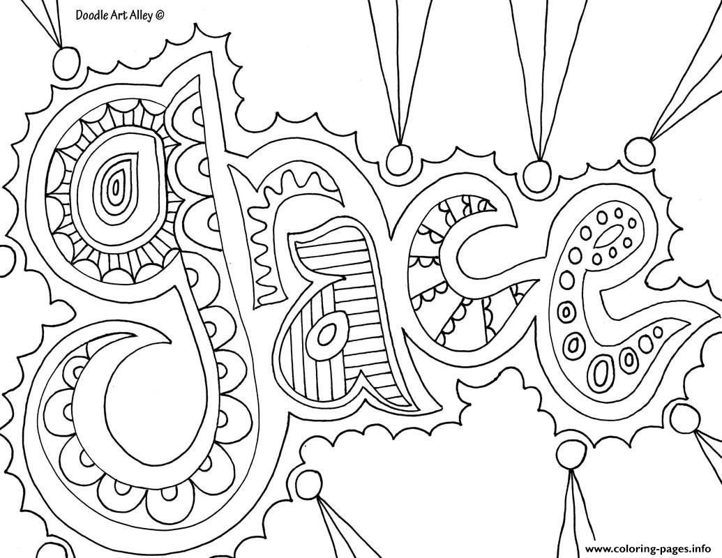 Grace Word Coloring Pages