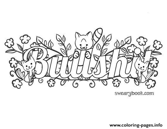 Bullshit Swear Words Word Adult Coloring Pages