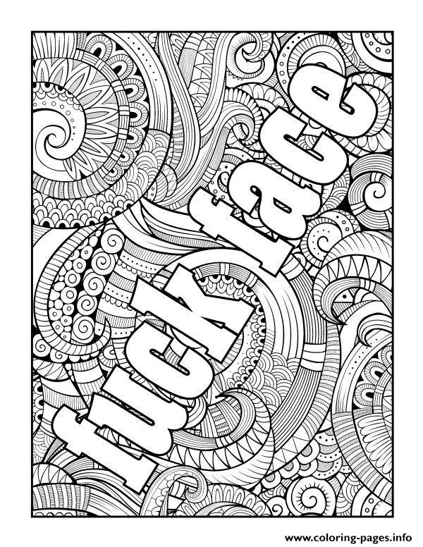 Fuck Face Word Adult Coloring Pages Printable