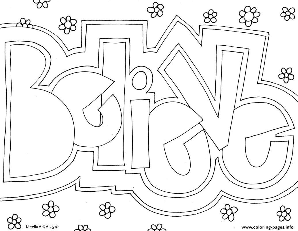 Word Believe coloring pages