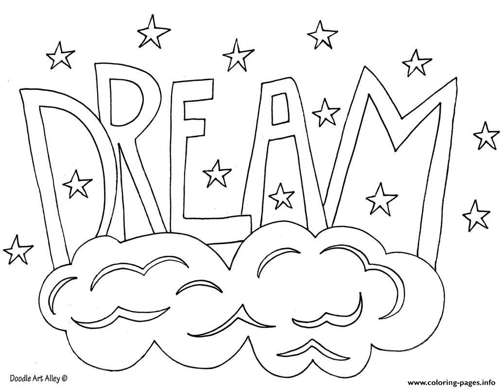 Word Dream Coloring Pages Printable