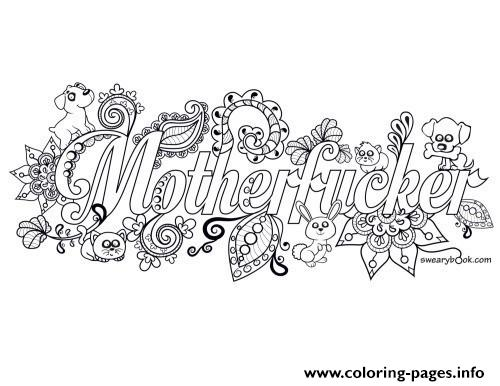 Mother Fucker Adult Word Doodle Coloring Pages Printable