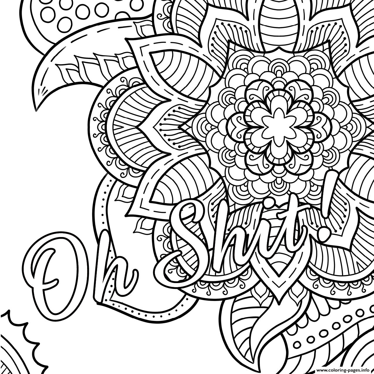 Oh Shit Word Doodle Coloring Pages Printable