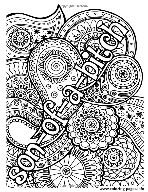 Son Of Bitxh Word Adult coloring pages