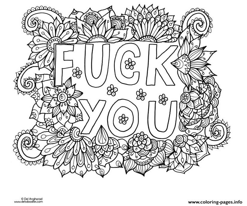 Fuck You Word Doodle Adult Coloring Pages Printable