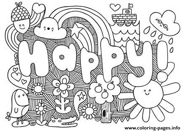 Happy Word Coloring Pages Print Download 124 Prints