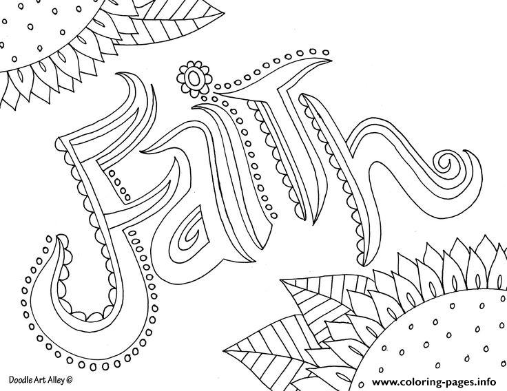 Word Faith Coloring Pages Printable