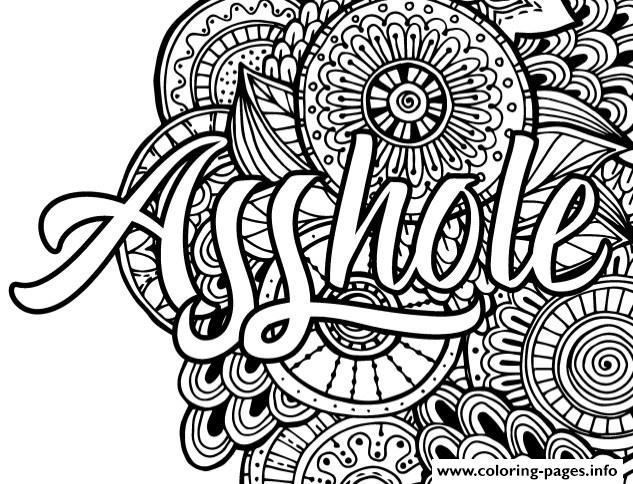 Asshole Word Adult Coloring Pages Printable