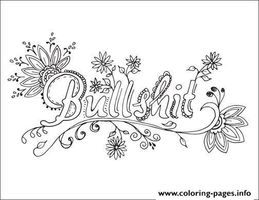 Bullshit Swear Word Mandala Coloring Pages Printable