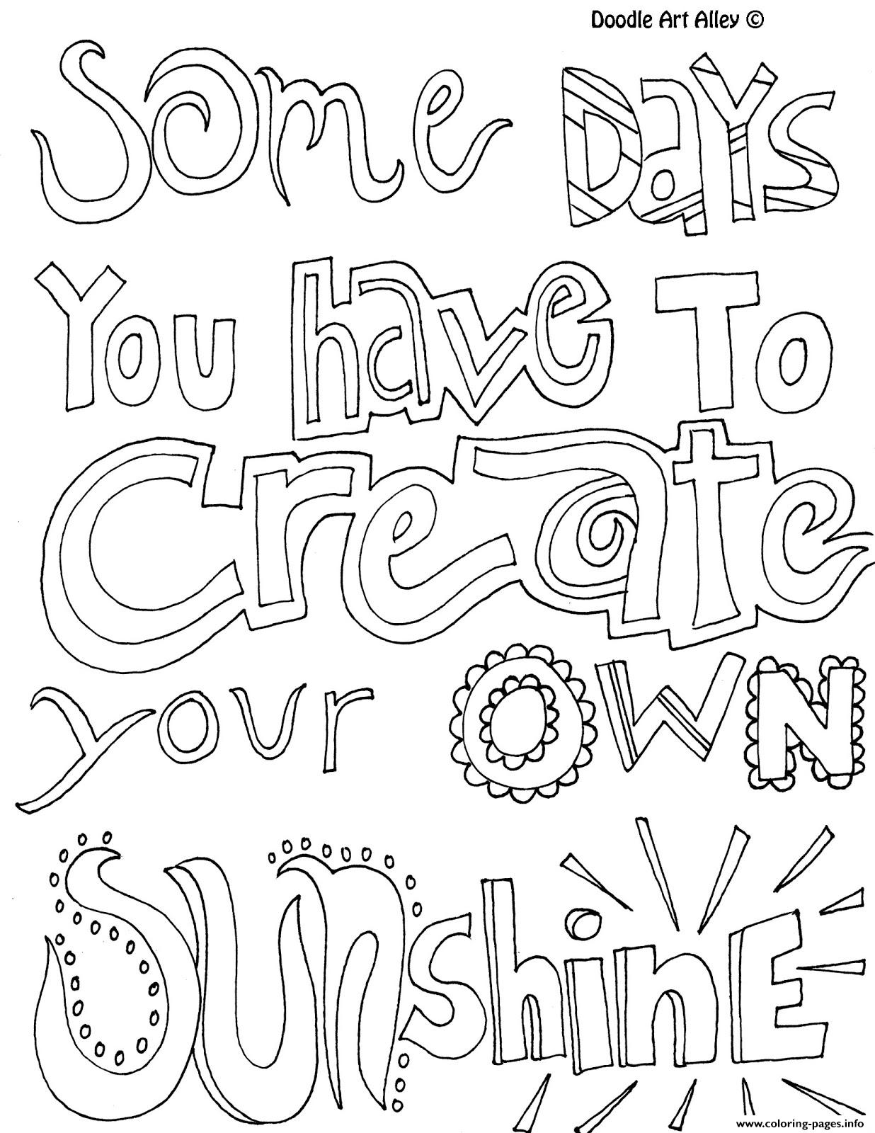 Quotes Word Sunshine Coloring Pages Printable