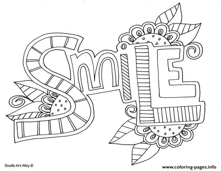 Word Smile Coloring Pages Printable