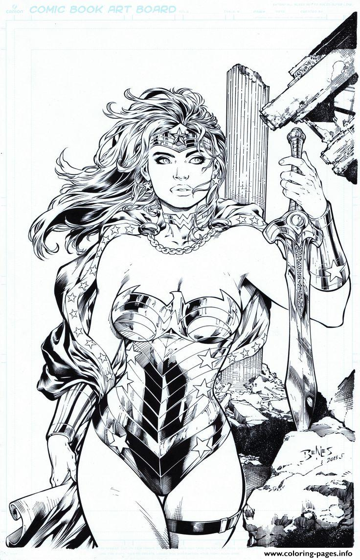 original wonder woman cute by ed benes dc comics coloring pages