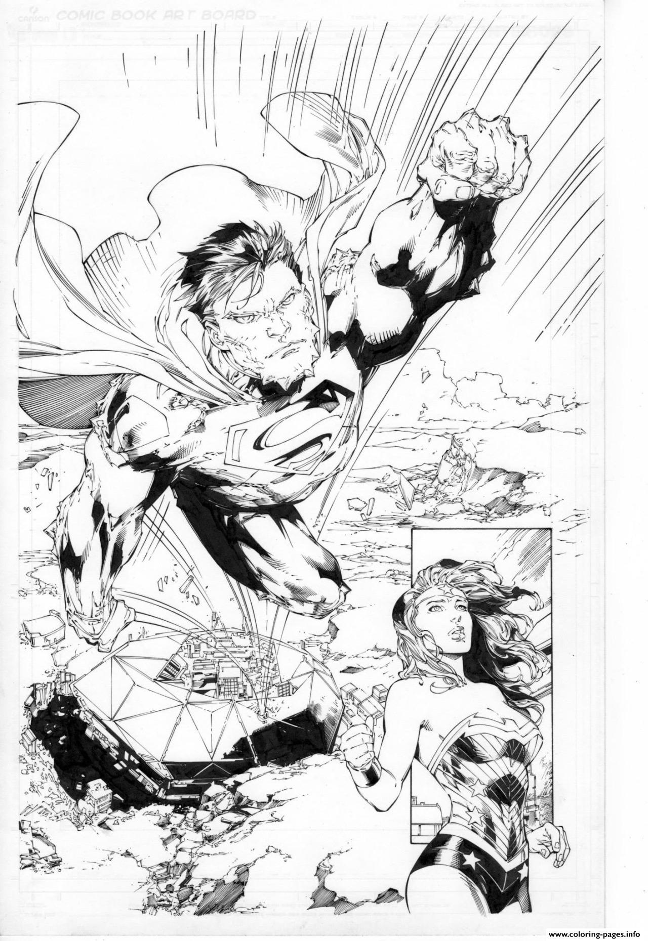 - Superman En Direction De Wonder Woman Dc Comics Coloring Pages