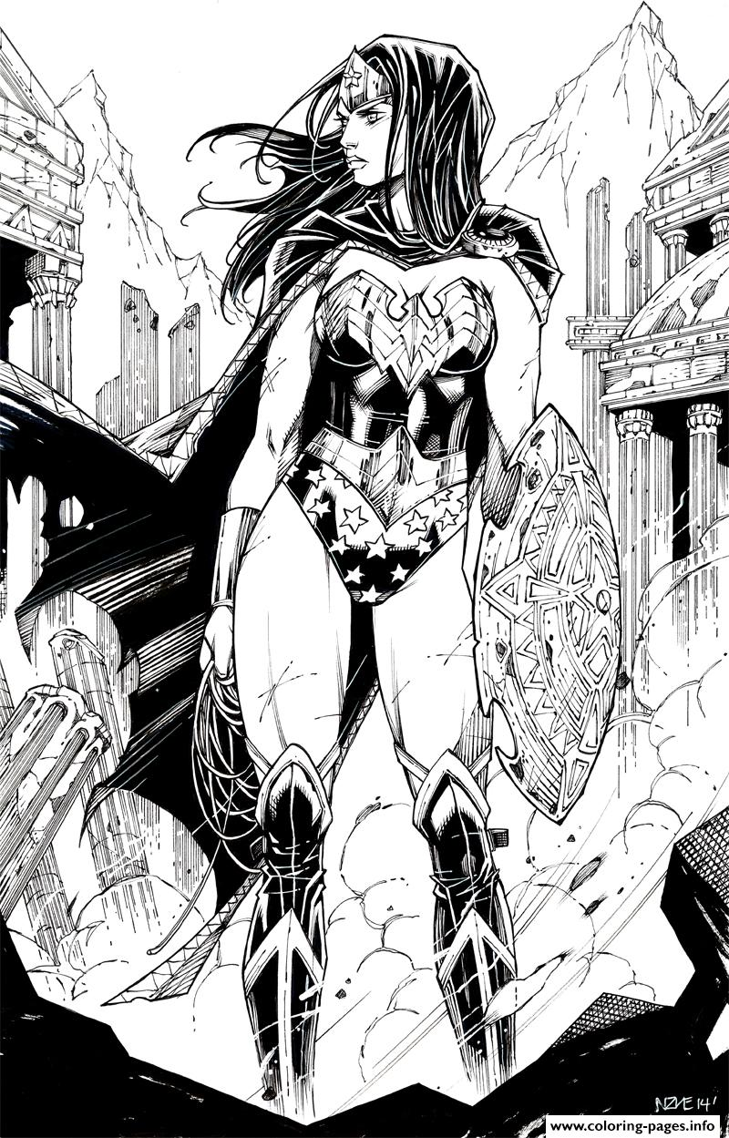 wonder woman by oliver nome dc comics coloring pages printable