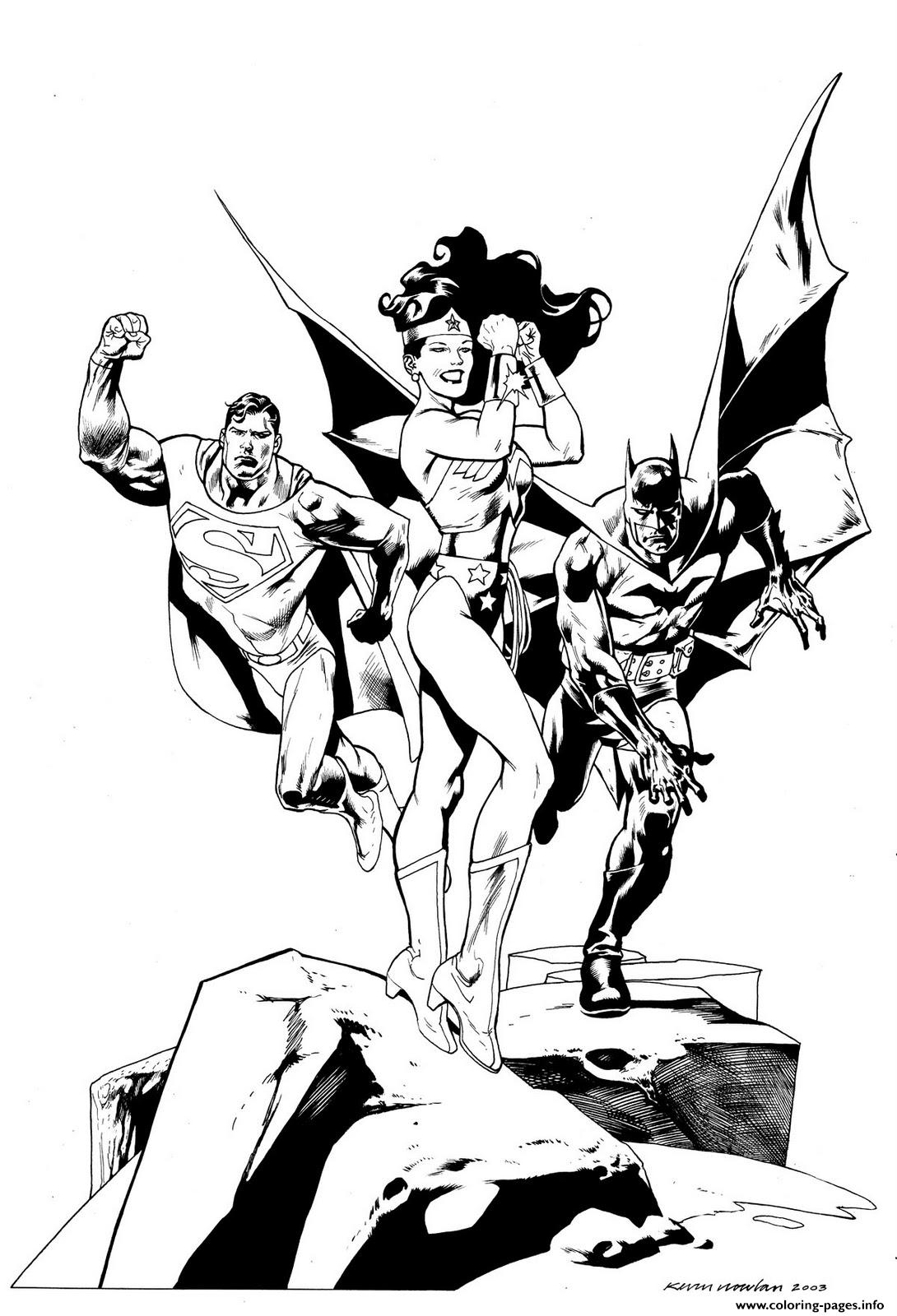wonder woman avec superman et batman dc comics coloring pages