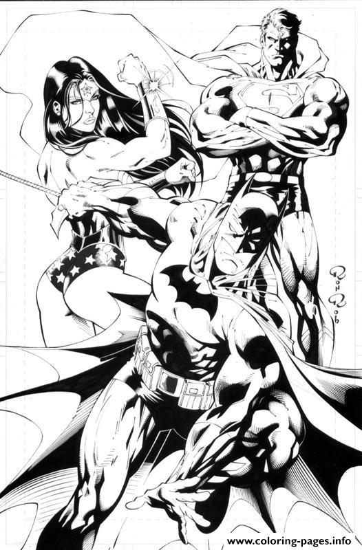 Wonder Woman Batman Superman Super Heros Dc Comics Coloring Pages ...