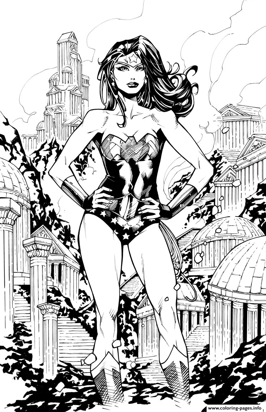 Wonde Woman In The City Dc Comics coloring pages