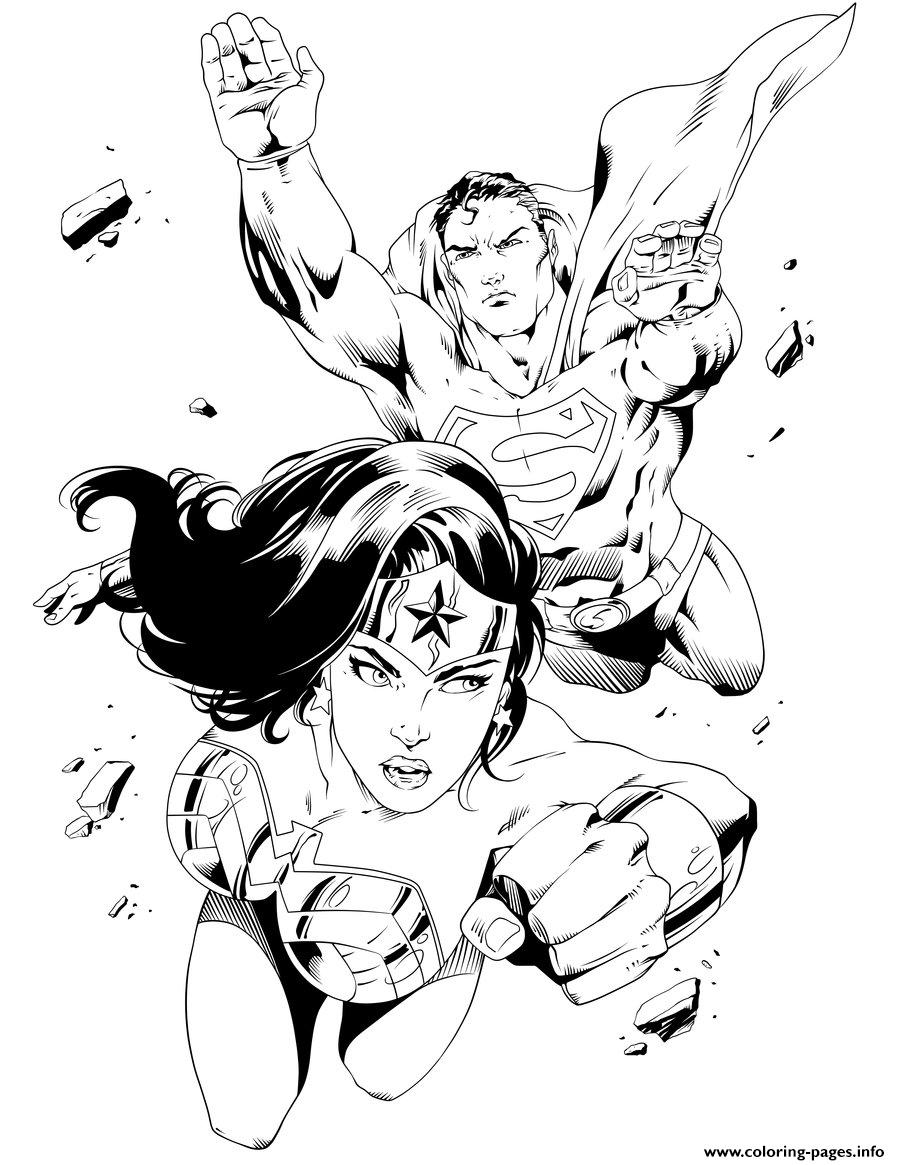 Coloring pages printable superman - Wonder Woman With Superman For Adult Coloring Pages Print Download