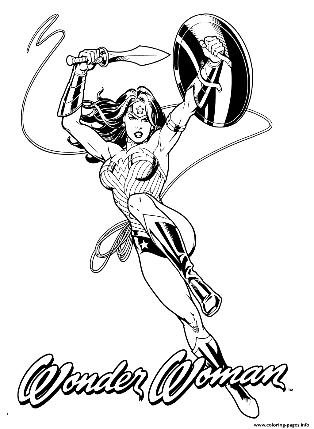 wonder woman for heroes coloring pages printable