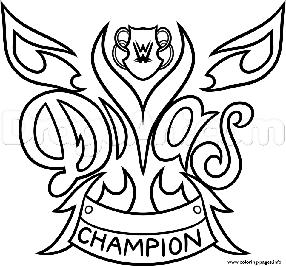 wwe diva championship belt nikki bella wrestling coloring pages - Wwe Coloring Pages