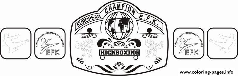 EFK BELT Kickboxing Championship Belt Coloring Pages Printable