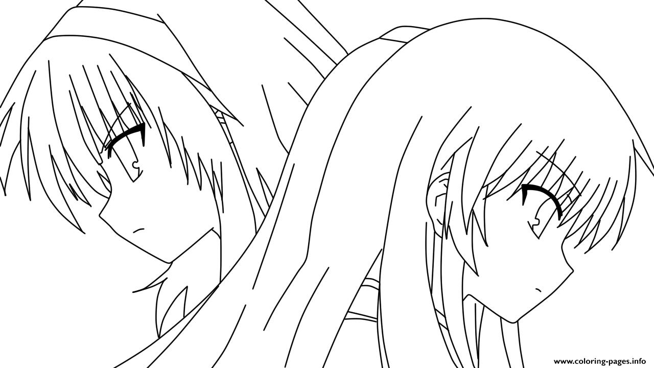 anime angel girl 4 coloring pages print download - Anime Girl Coloring Pages Print