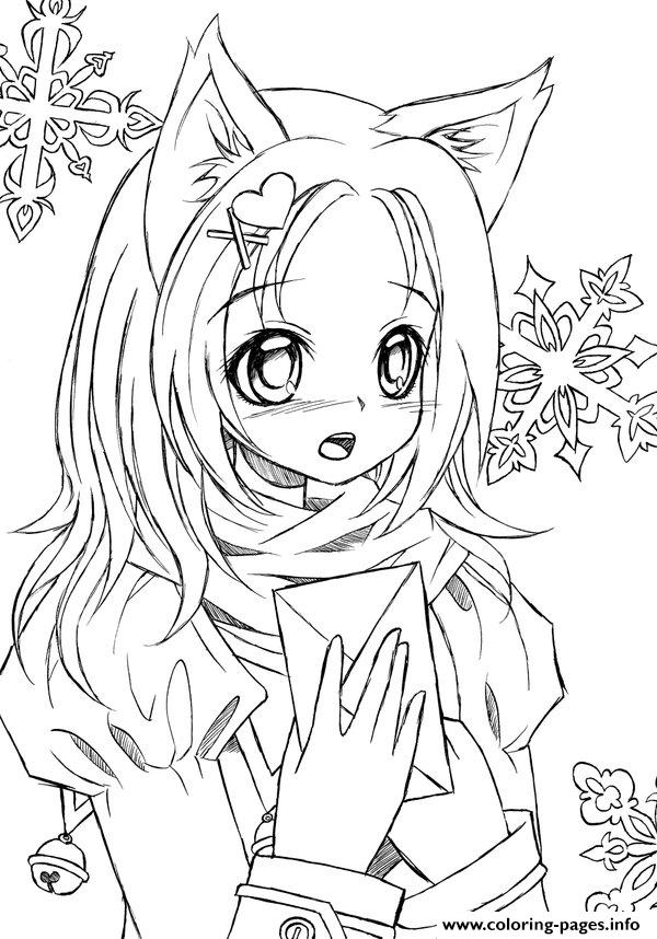 Cute anime catgirl lineart by liadebeaumont coloring pages