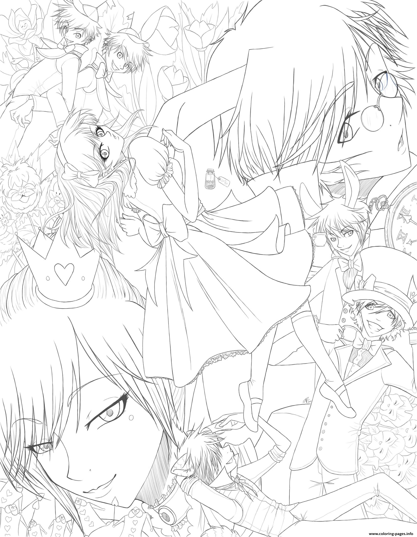 wonderland anime coloring pages printable