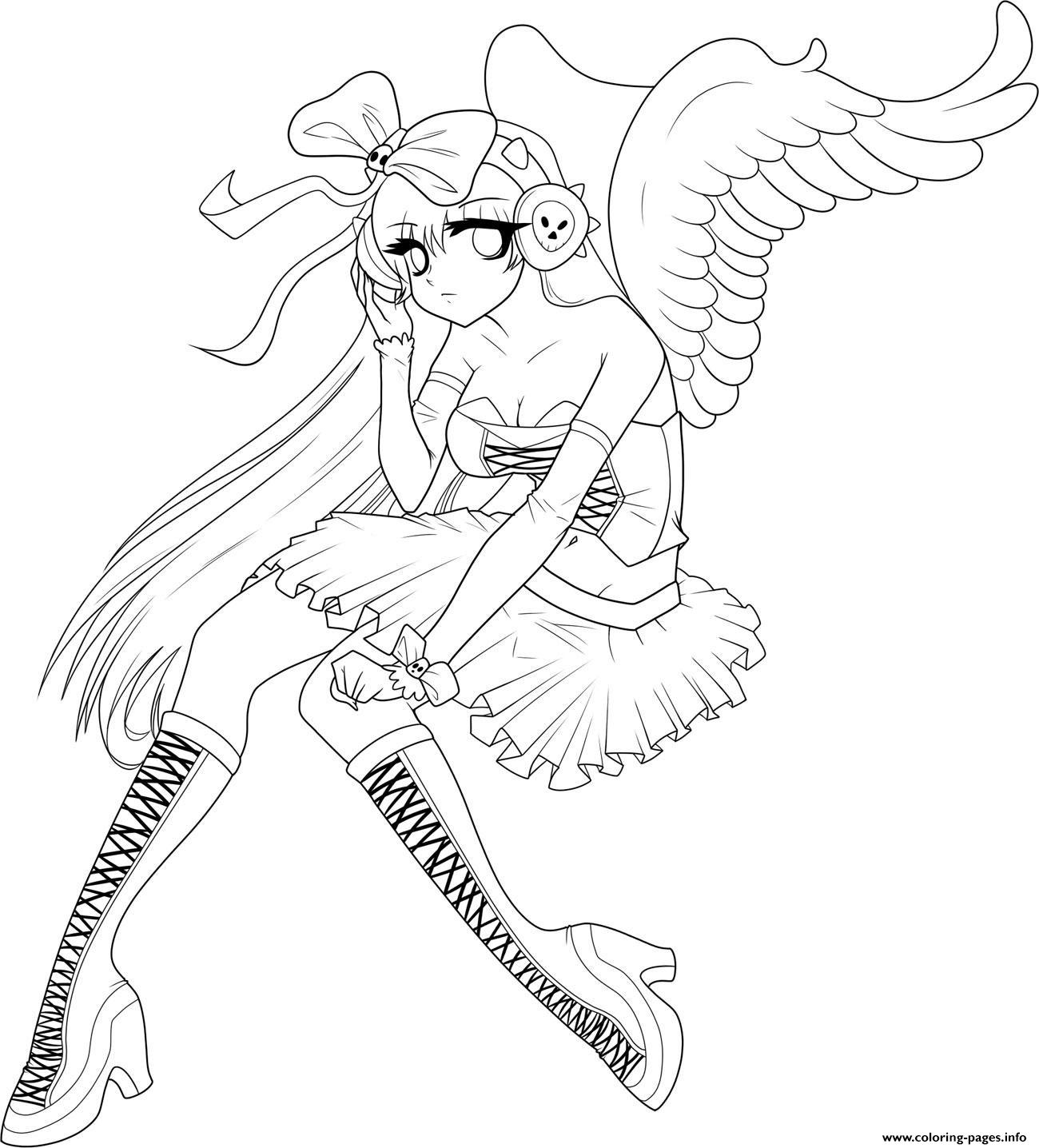 Anime Angel Girl 5 Coloring Pages Printable