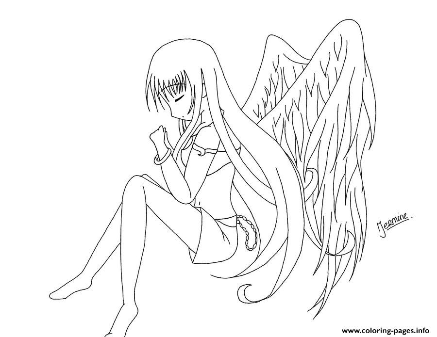 Anime Angel Girl 1 Coloring Pages Printable