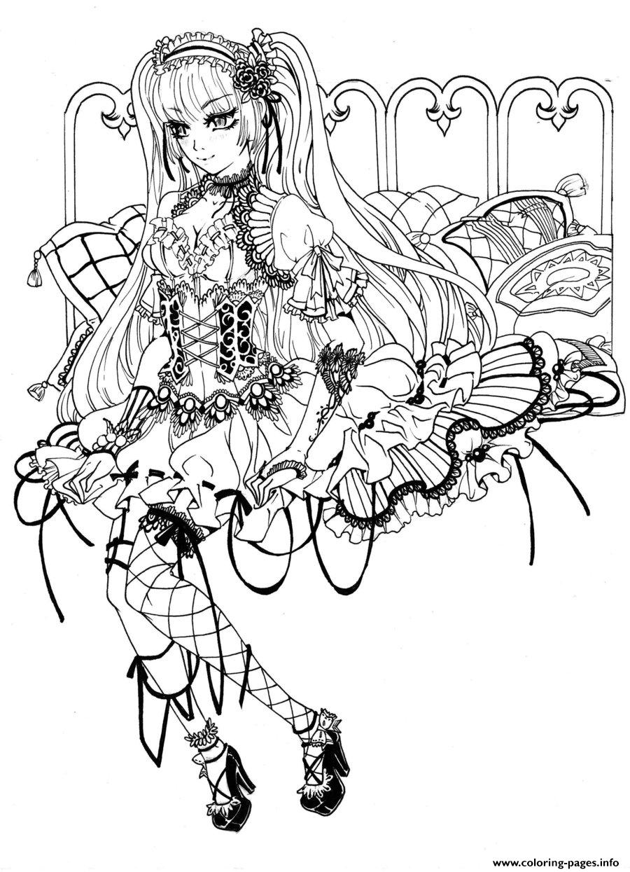gothic fairy coloring pages printable. Black Bedroom Furniture Sets. Home Design Ideas