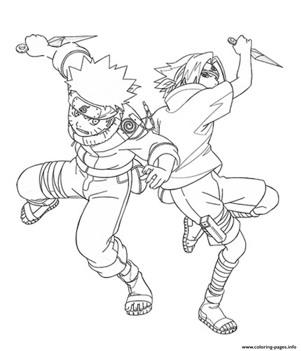 anime naruto and sasuke1345 coloring pages printable