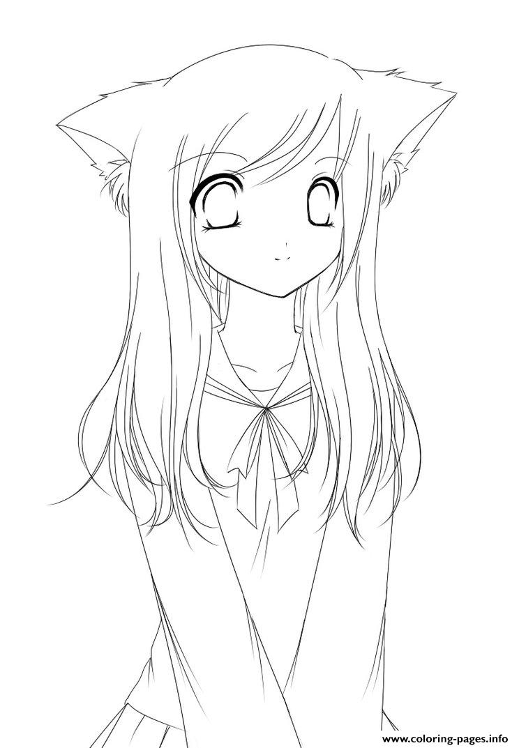 Cute Anime Girl Coloring Pages Print Download