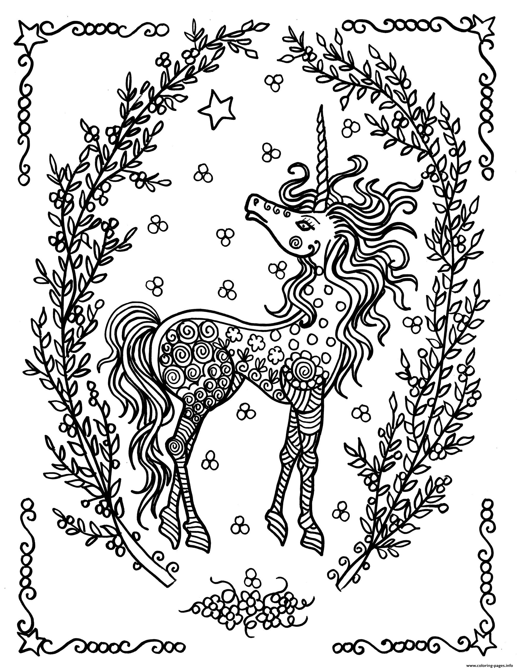 Adult Licorne By Deborah Muller coloring pages