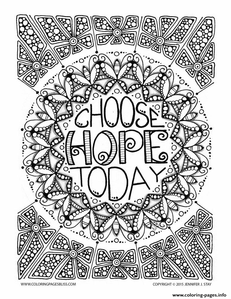 Adult Anti Stress Jennifer Choose Hope Today Coloring Pages
