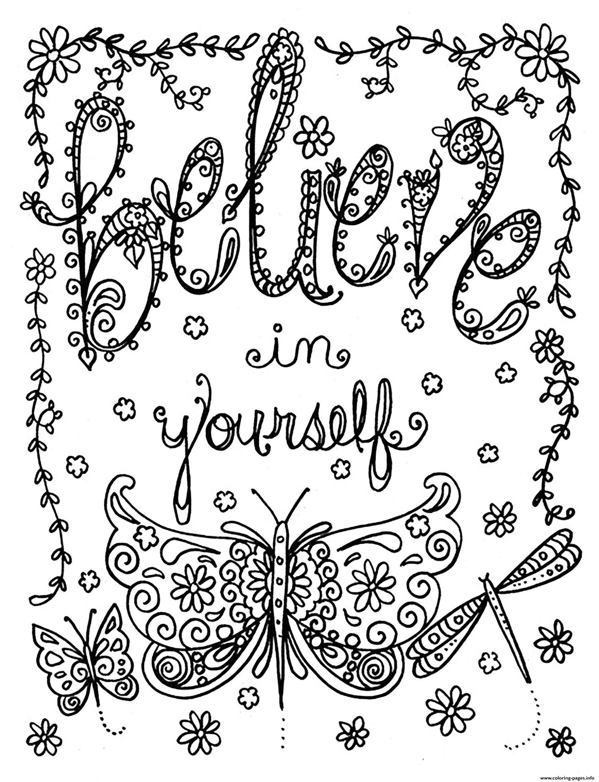 Adult Believe In Yourself By Deborah Muller coloring pages