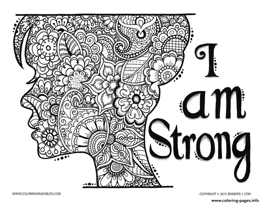print adult zen and anti stress i am strong coloring pages