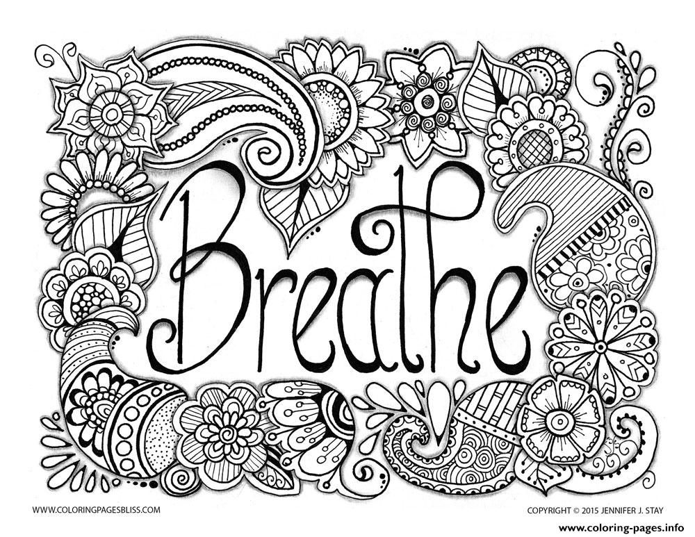 Breathe Adult Anti Stress Jennifer 3 Coloring Pages Printable