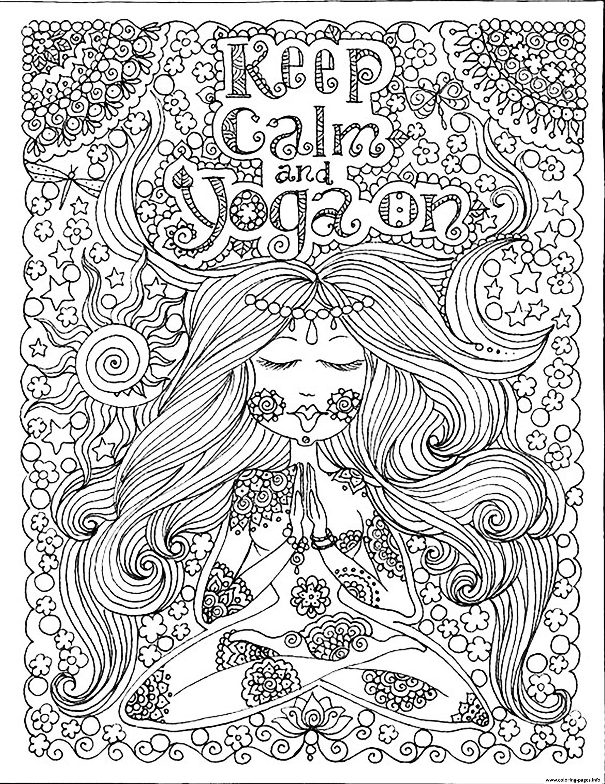 Adult Keep Calm And Do Yoga By Deborah Muller Coloring Pages