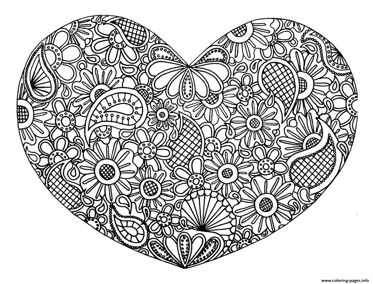 Colouring pages for adults printable free - Adult Heart Mandala Fleurs Zen 2017 Coloring Pages