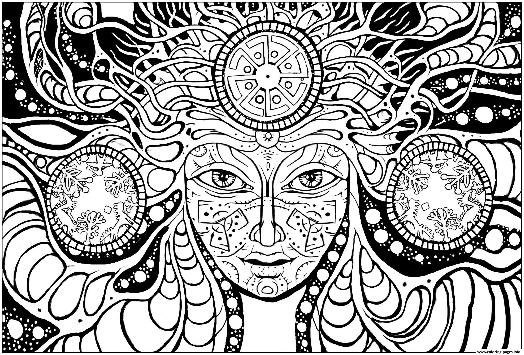 Adult Difficult Psychedelic Femme Coloring Pages Print Download