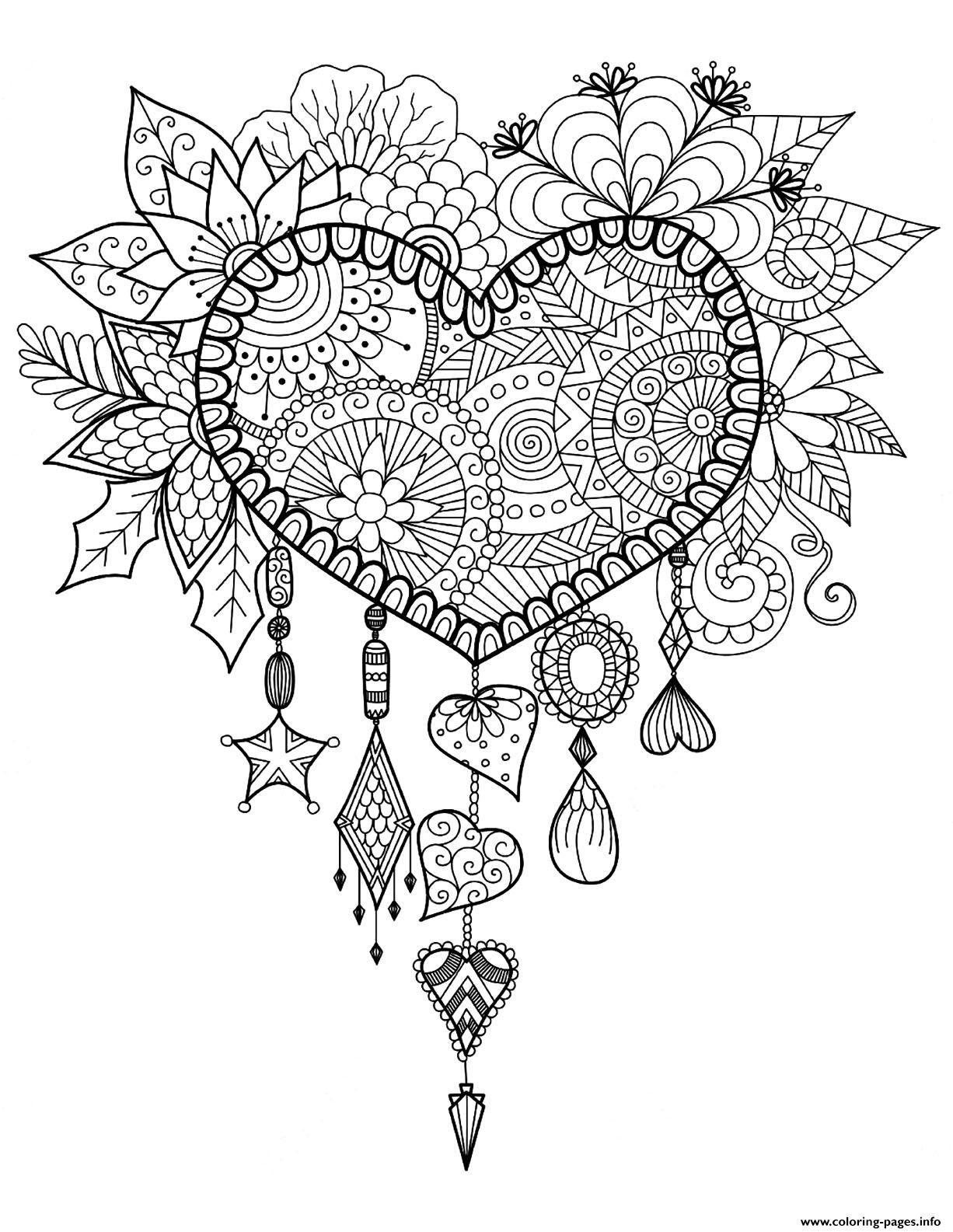 Adult Dreams Catcher Heart Mandala Zen Coloring Pages Printable