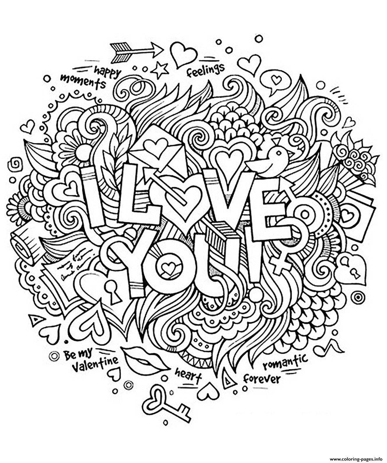 Adult Heart Amour I Love You Romantique coloring pages